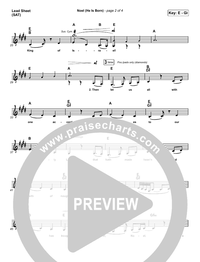 Noel (He Is Born) Lead Sheet (SAT) (Tommee Profitt / Stanaj)