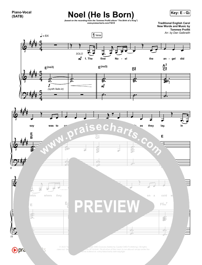 Noel (He Is Born) Piano/Vocal (SATB) (Tommee Profitt / Stanaj)
