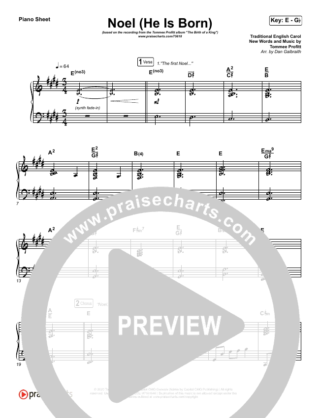 Noel (He Is Born) Piano Sheet (Tommee Profitt / Stanaj)