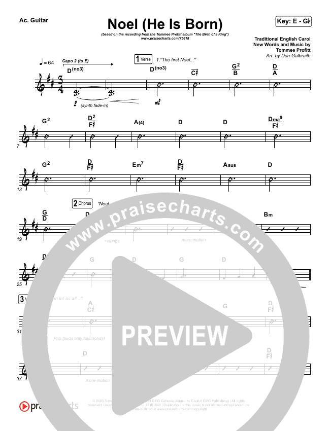 Noel (He Is Born) Rhythm Chart (Tommee Profitt / Stanaj)