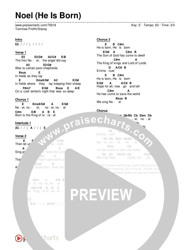 Noel (He Is Born) Chords & Lyrics (Tommee Profitt / Stanaj)