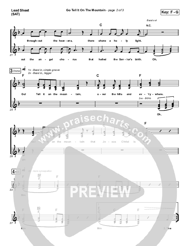 Go Tell It On The Mountain Lead Sheet (SAT) (for KING & COUNTRY / Gabby Barrett)