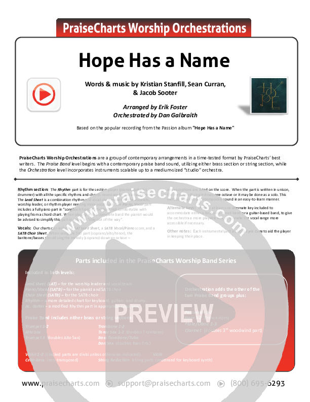 Hope Has A Name Orchestration (Passion / Kristian Stanfill)