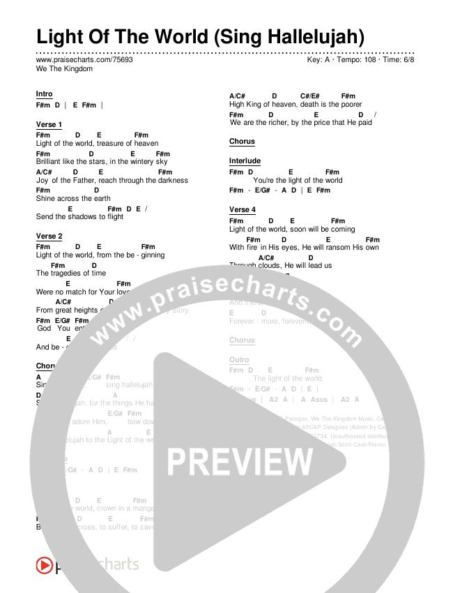 Light Of The World (Sing Hallelujah) Chords & Lyrics (We The Kingdom)