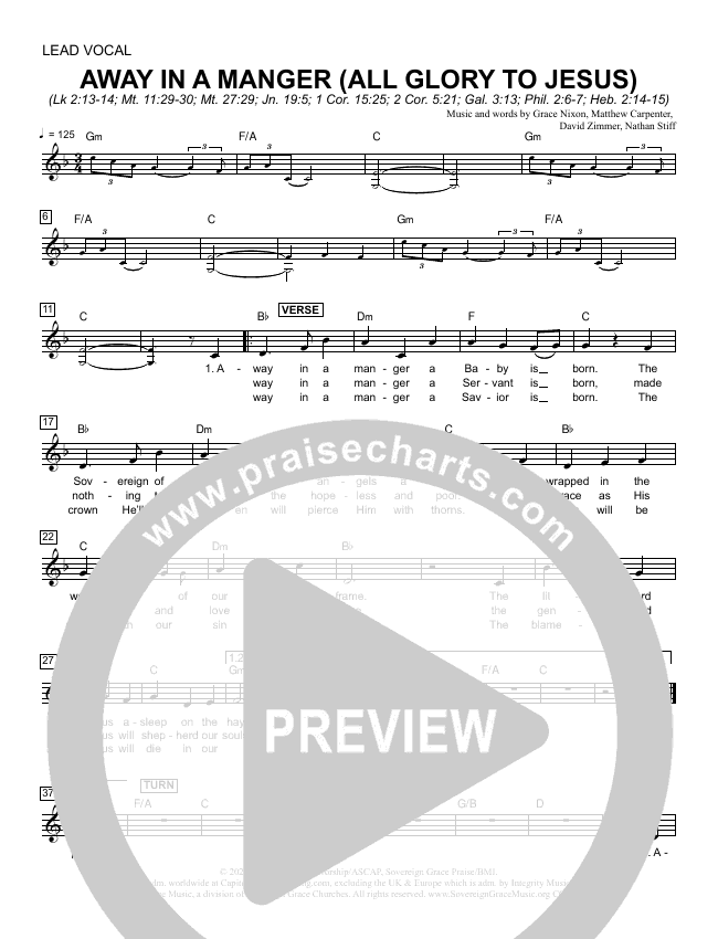 Away In A Manger (All Glory To Jesus) Lead Sheet Melody (Sovereign Grace)