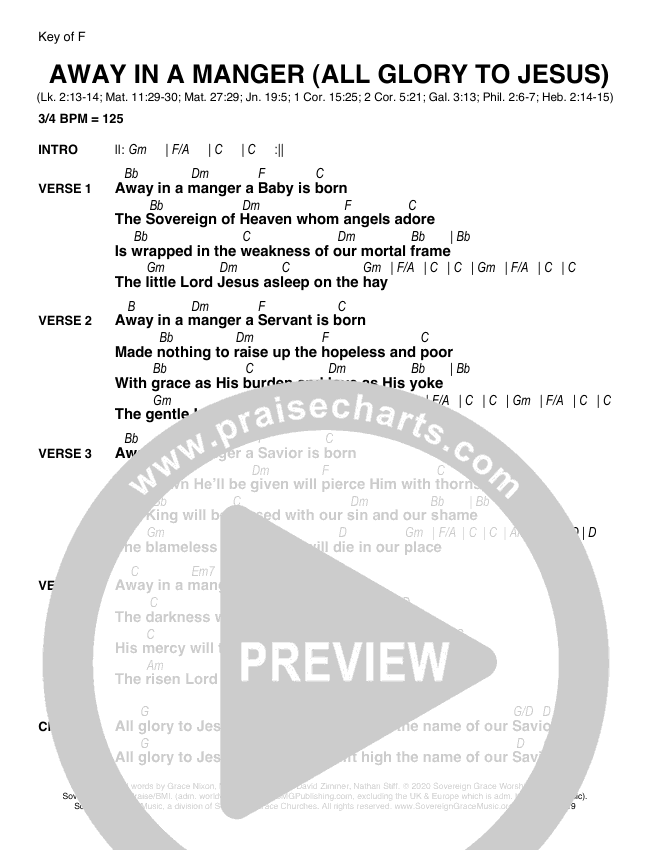 Away In A Manger (All Glory To Jesus) Chord Chart (Sovereign Grace)