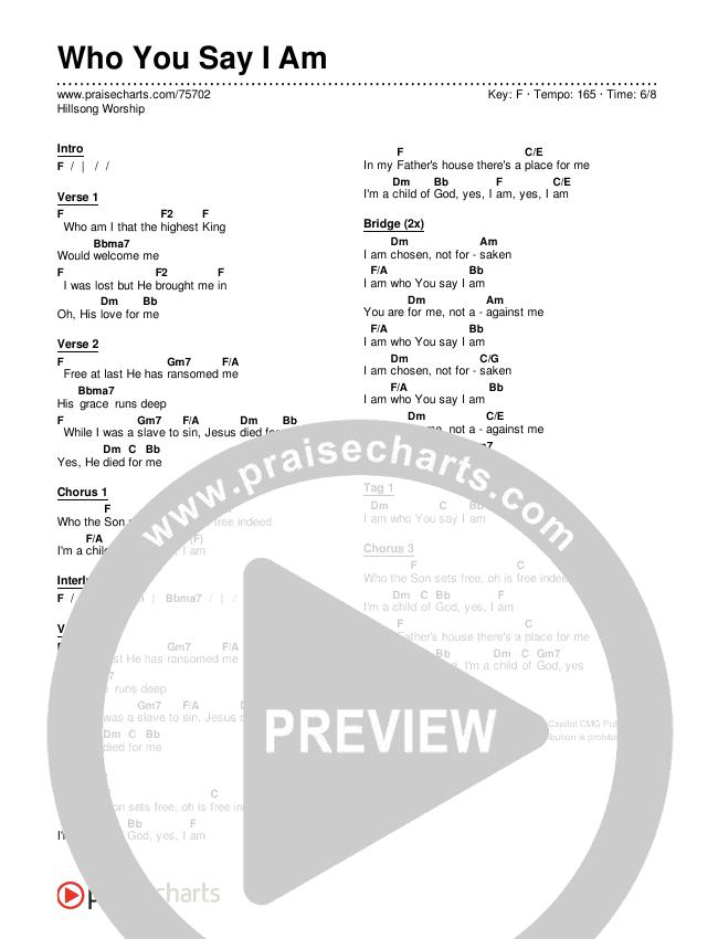Who You Say I Am Chords & Lyrics (Hillsong Worship)