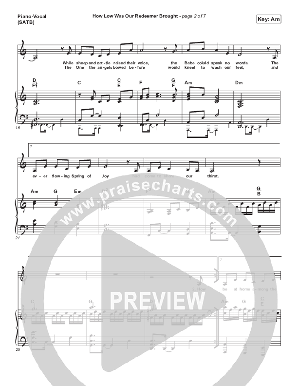 How Low Was Our Redeemer Brought Piano/Vocal (SATB) (Sovereign Grace)
