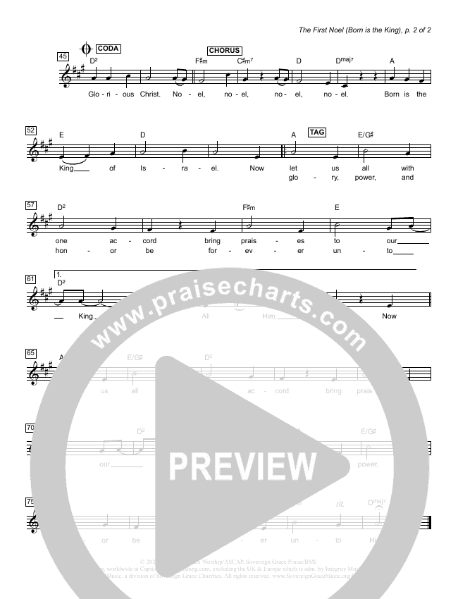The First Noel (Born Is The King) Lead Sheet Melody (Sovereign Grace)