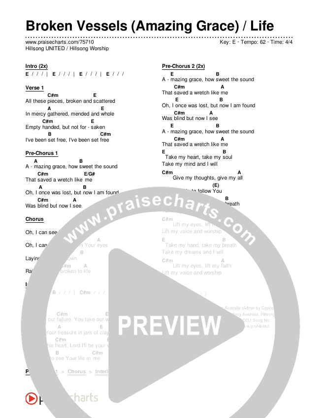 Broken Vessels (Amazing Grace) / Life Chords & Lyrics (Hillsong UNITED / Hillsong Worship)