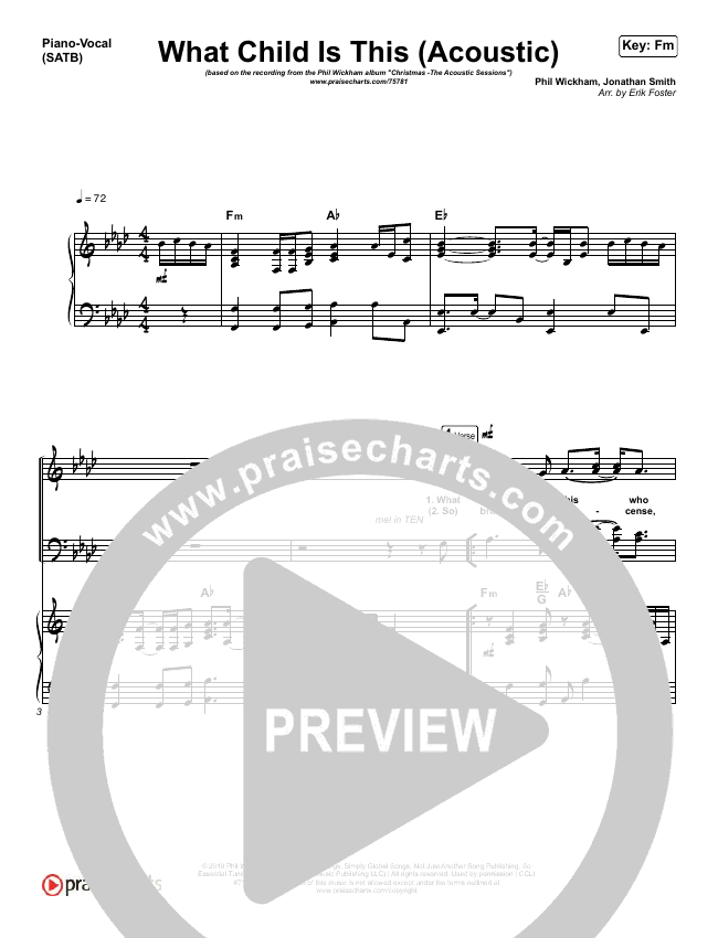 What Child Is This (Acoustic) Piano/Vocal (SATB) (Phil Wickham)