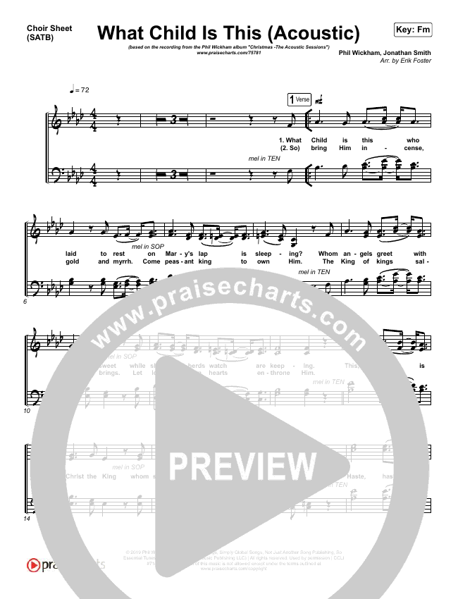 What Child Is This (Acoustic) Choir Sheet (SATB) (Phil Wickham)