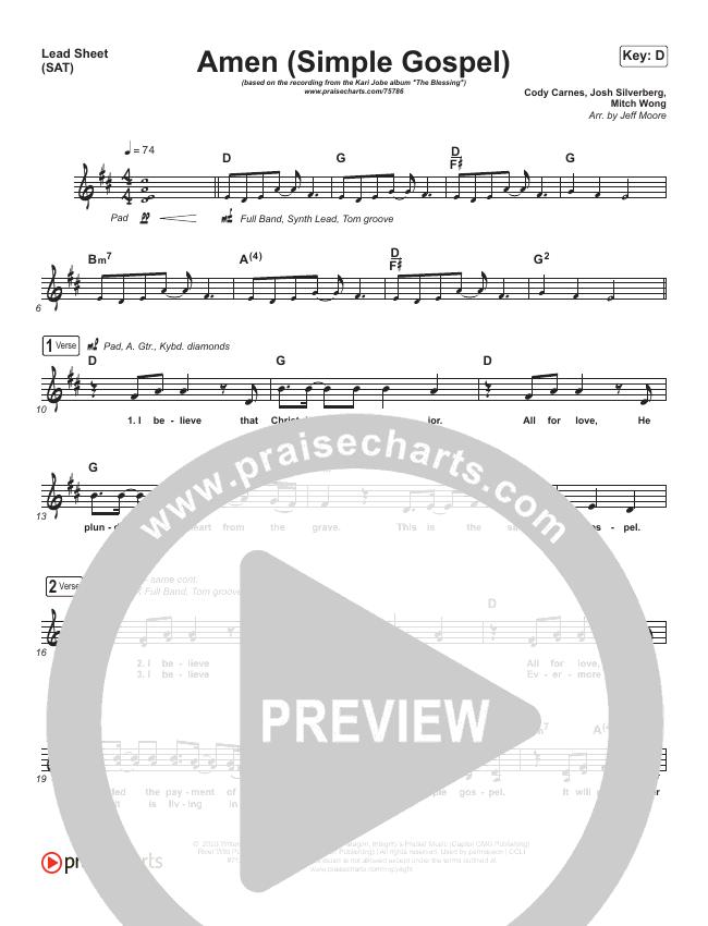 Amen (Simple Gospel) Piano/Vocal Pack (Kari Jobe)