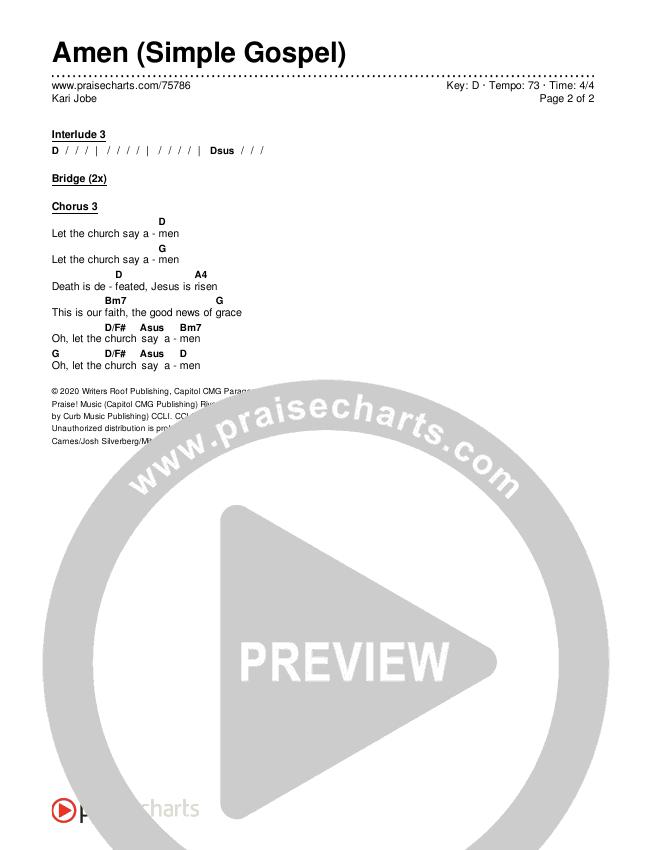 Amen (Simple Gospel) Chords & Lyrics (Kari Jobe)