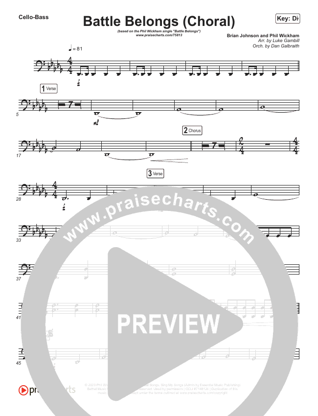Battle Belongs (Choral) String Pack (PraiseCharts Choral / Phil Wickham / Arr. Luke Gambill)