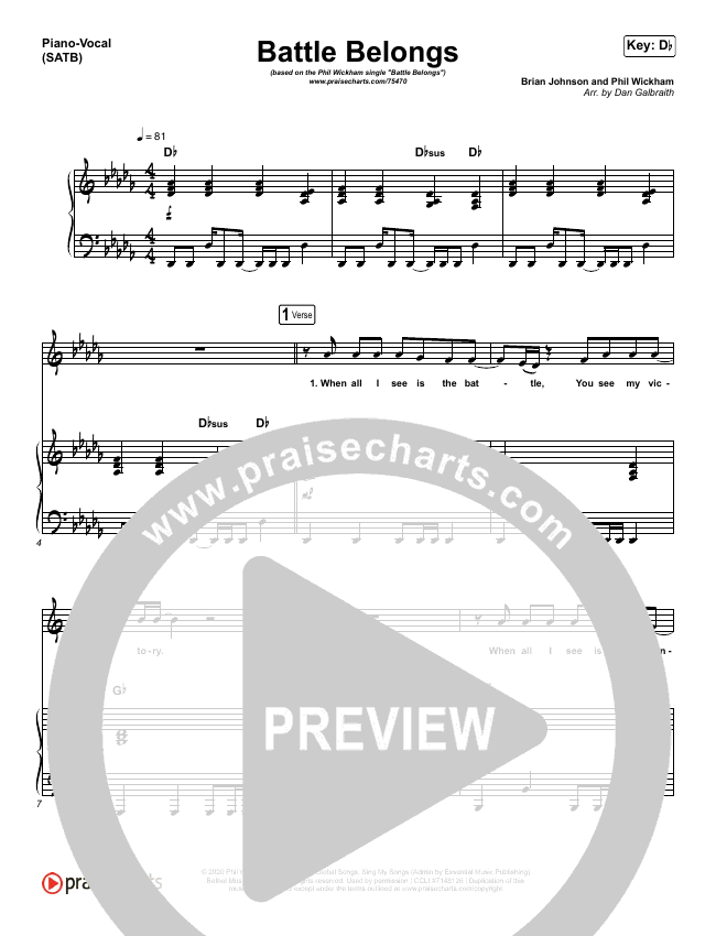 Battle Belongs (Choral) Piano/Vocal (SATB) (PraiseCharts Choral / Phil Wickham)