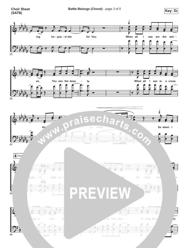 Battle Belongs (Choral) Choir Sheet (SATB) (PraiseCharts Choral / Phil Wickham)