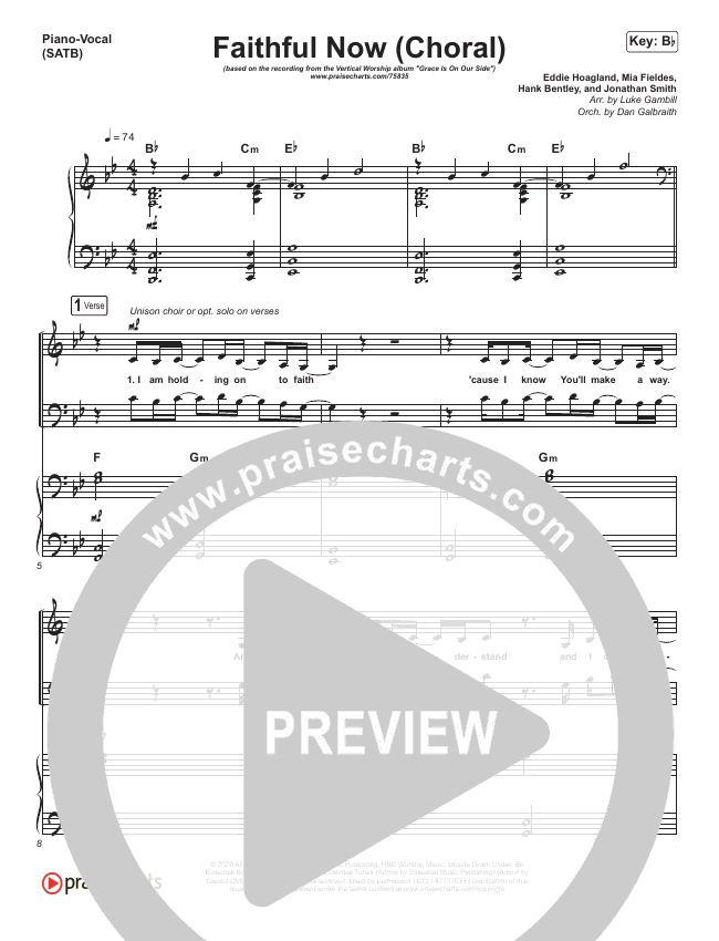 Faithful Now (Choral) Piano/Vocal (SATB) (PraiseCharts Choral / Vertical Worship)