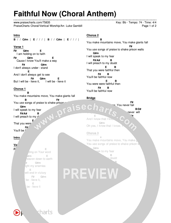 Faithful Now (Choral) Chords & Lyrics (PraiseCharts Choral / Vertical Worship)