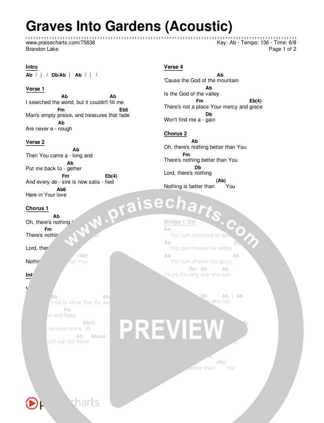 Graves Into Gardens (Acoustic) Chords & Lyrics (Brandon Lake)