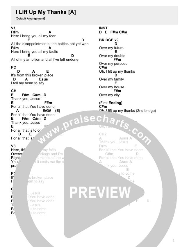 I Lift Up My Thanks Chord Chart (Crossroads Music)
