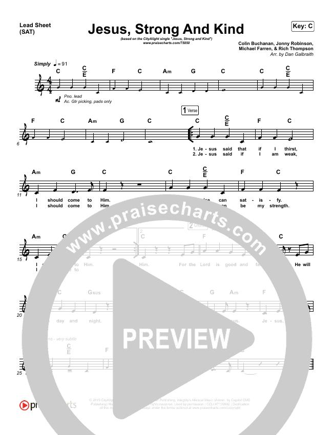 Jesus Strong And Kind Lead Sheet (SAT) (CityAlight)
