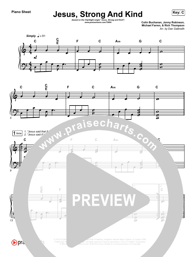 Jesus Strong And Kind Piano Sheet (CityAlight)