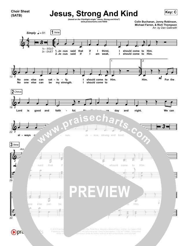 Jesus Strong And Kind Choir Sheet (SATB) (CityAlight)