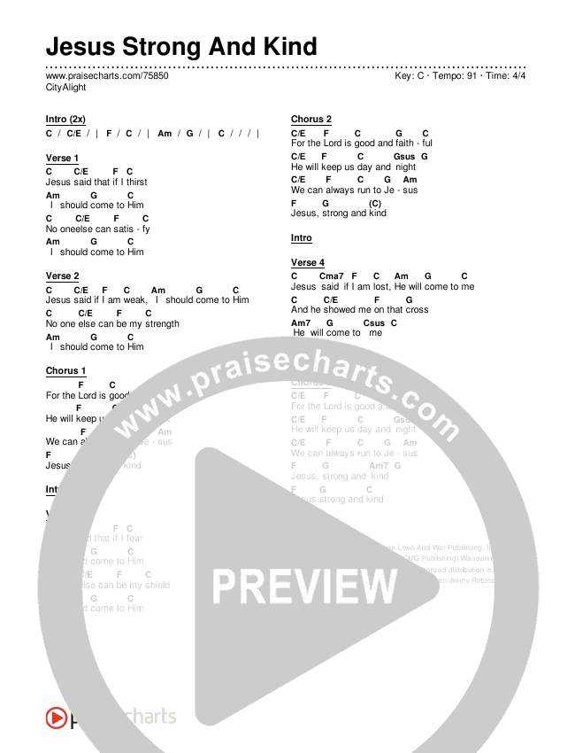 Jesus Strong And Kind Chords & Lyrics (CityAlight)