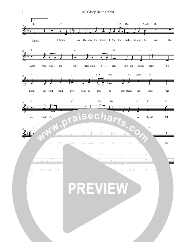 All Glory Be To Christ Lead Sheet Melody (Grace Worship)