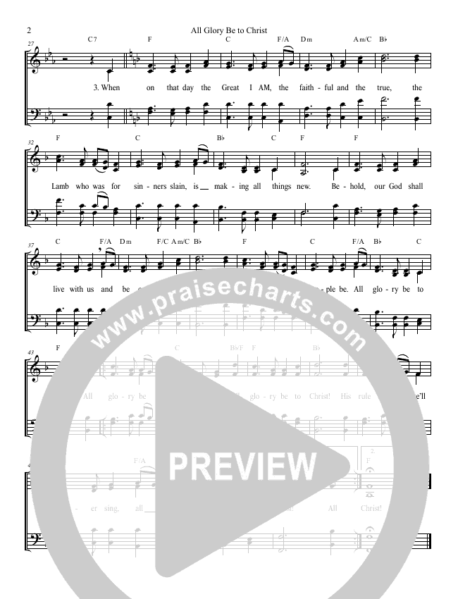 All Glory Be To Christ Lead Sheet (SAT) (Grace Worship)