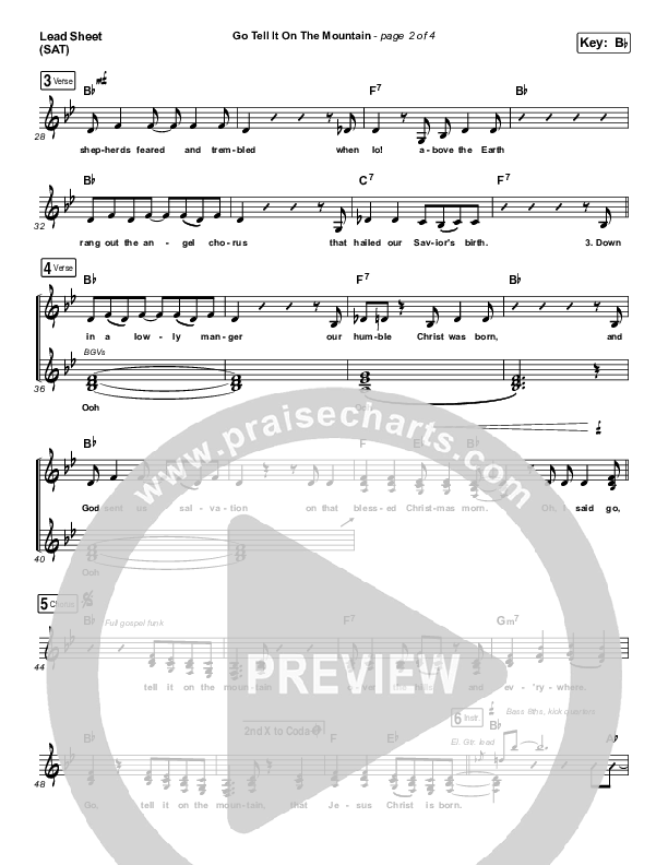Go Tell It On The Mountain (Choral) Orchestration (PraiseCharts Choral / Zach Williams / Arr. Luke Gambill)