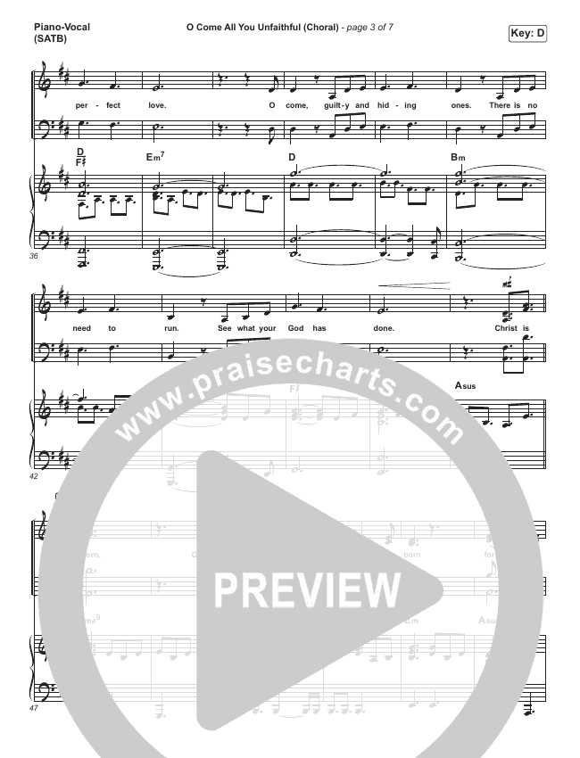 O Come All You Unfaithful (Choral) Orchestration (PraiseCharts Choral / Sovereign Grace / Arr. Luke Gambill)