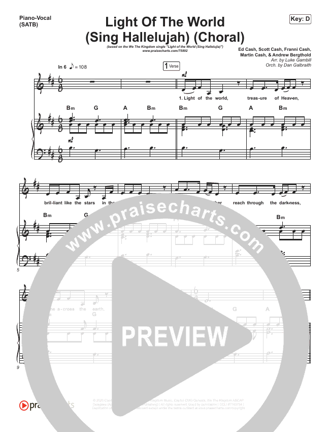 Light Of The World (Sing Hallelujah) (Choral) Piano/Vocal (SATB) (PraiseCharts Choral / We The Kingdom)