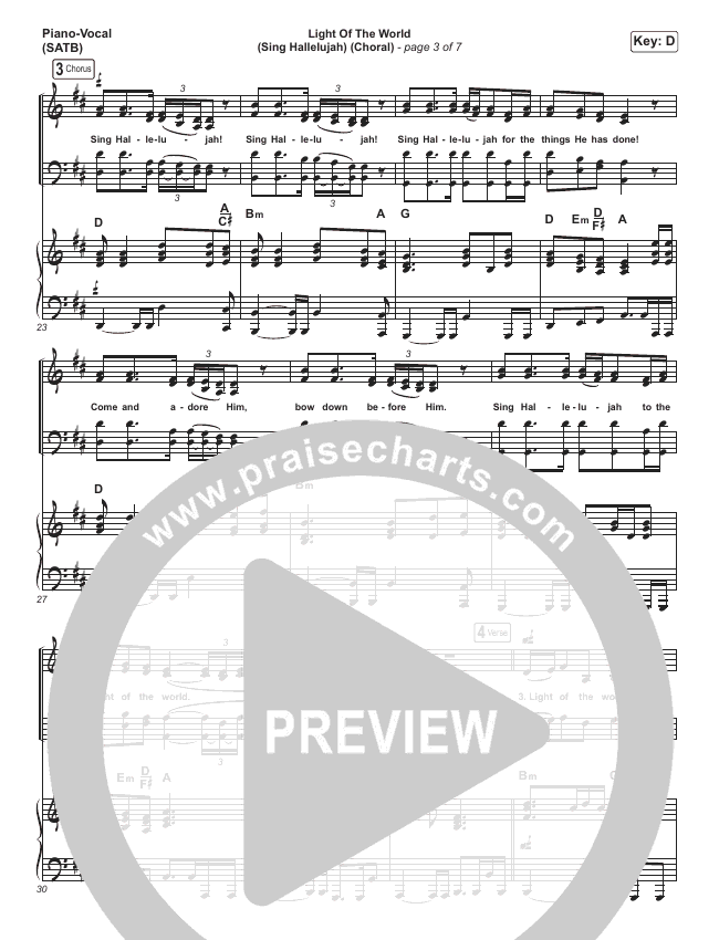 Light Of The World (Sing Hallelujah) (Choral) Orchestration (PraiseCharts Choral / We The Kingdom / Arr. Luke Gambill)
