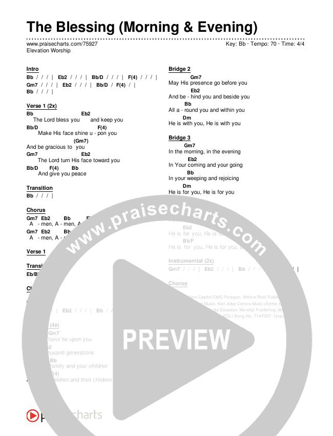 The Blessing (Morning & Evening) Chords & Lyrics (Elevation Worship)