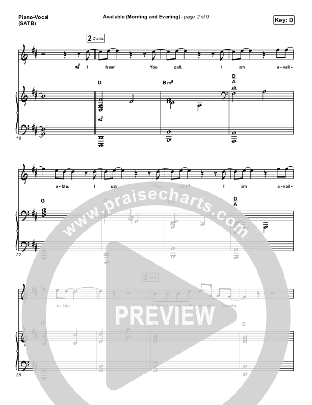 Available (Morning & Evening) Piano/Vocal (SATB) (Elevation Worship)