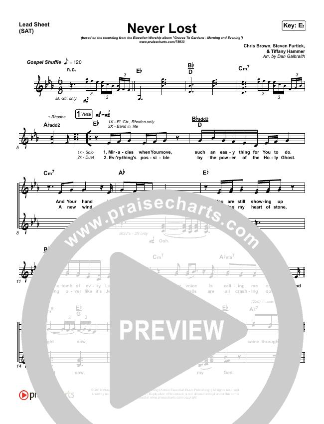 Never Lost (Morning & Evening) Lead Sheet (SAT) (Elevation Worship)