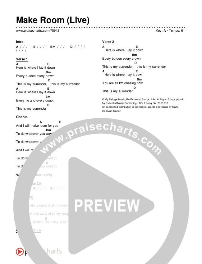 Make Room (Live) Chord Chart (Shane & Shane/The Worship Initiative)