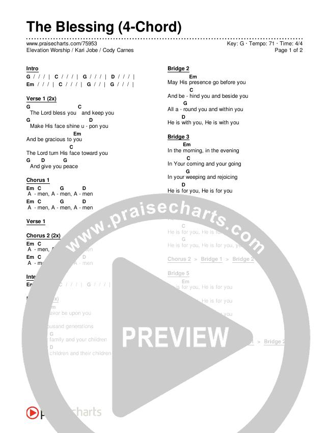 The Blessing (4-Chord) Chords & Lyrics (Elevation Worship / Kari Jobe / Cody Carnes)