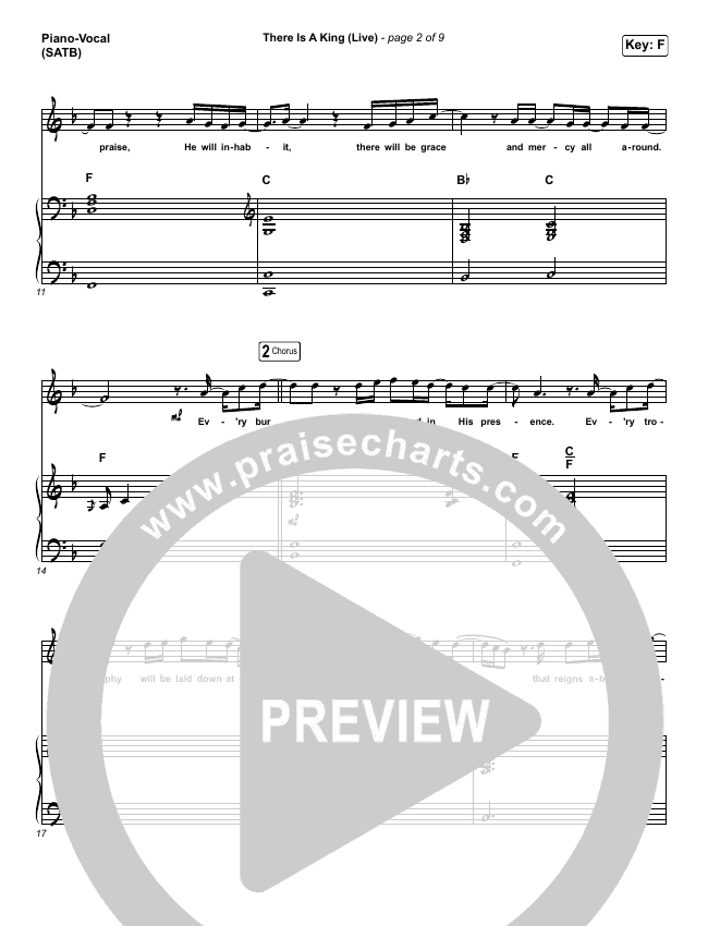 There Is A King (Live) Piano/Vocal (SATB) (Elevation Worship / Brandon Lake)