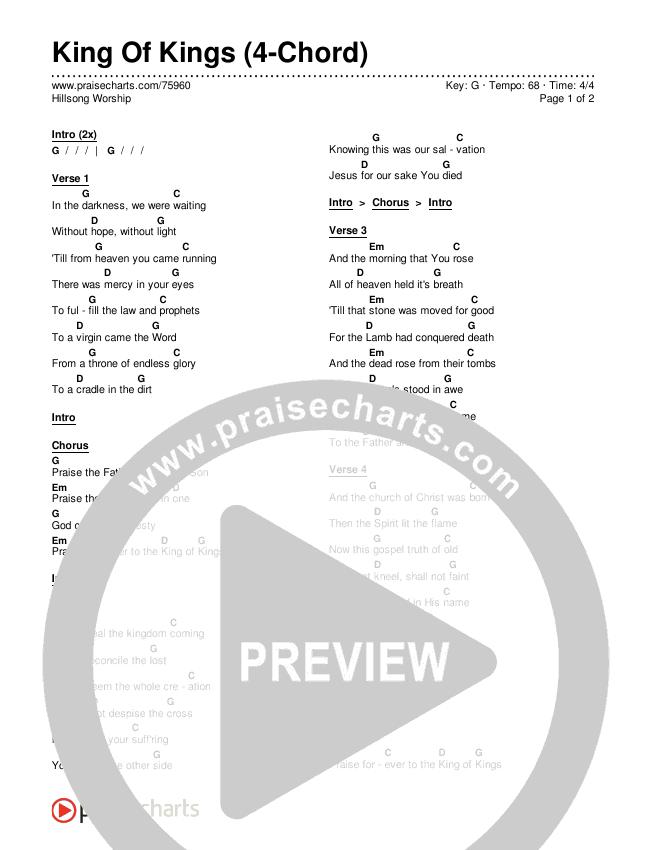 King Of Kings (4-Chord) Chords & Lyrics (Hillsong Worship)