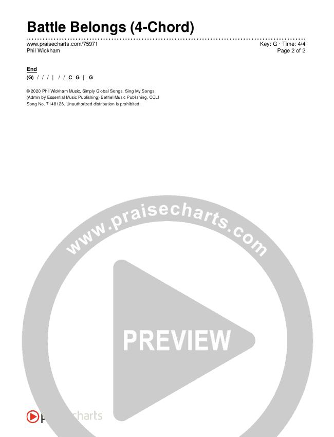 Battle Belongs (4-Chord) Chords & Lyrics (Phil Wickham)