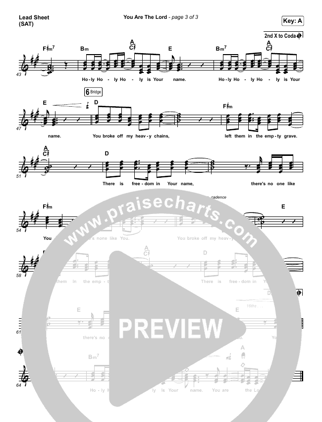 You Are The Lord Lead Sheet (SAT) (Passion / Brett Younker / Naomi Raine)