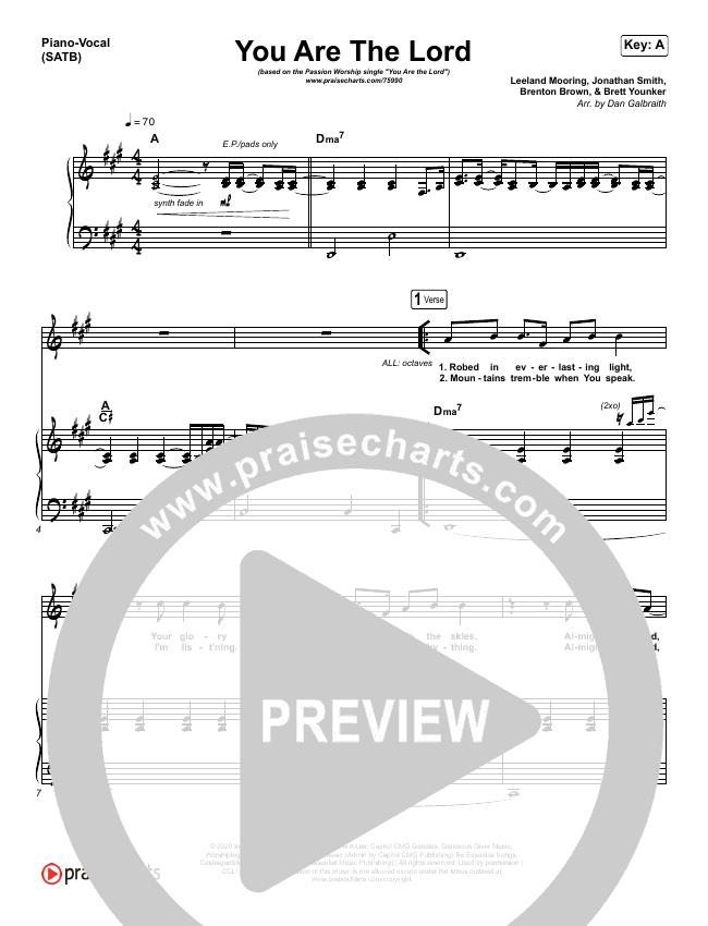 You Are The Lord Piano/Vocal (SATB) (Passion / Brett Younker / Naomi Raine)