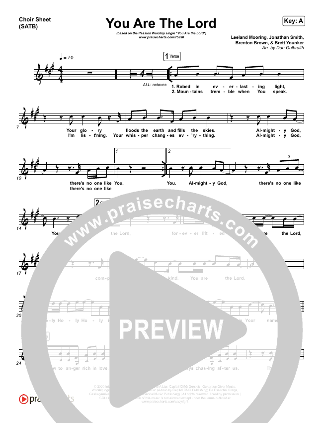 You Are The Lord Choir Sheet (SATB) (Passion / Brett Younker / Naomi Raine)