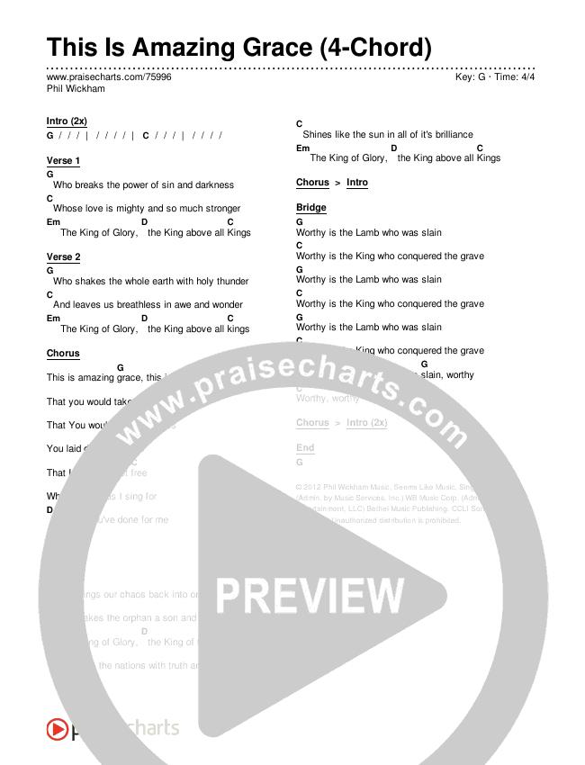 This Is Amazing Grace (4-Chord) Chords & Lyrics (Phil Wickham)
