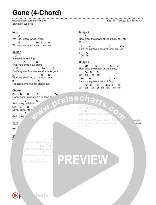 Gone (4-Chord) Chords & Lyrics (Elevation Worship)