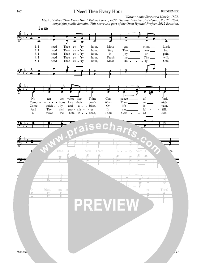 I Need Thee Every Hour Hymn Sheet (SATB) (Traditional Hymn)