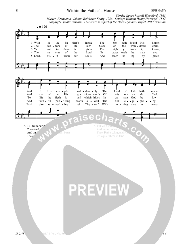 Within The Father's House Hymn Sheet (SATB) (Traditional Hymn)